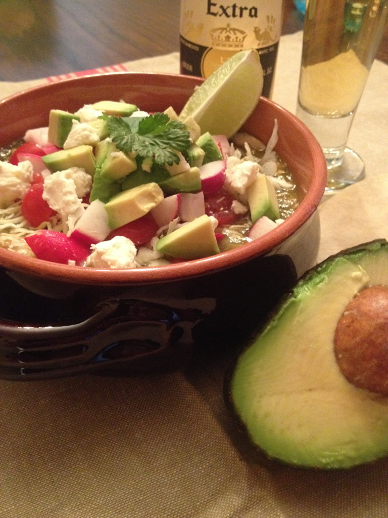 Posole Verde with Avocado Close Up