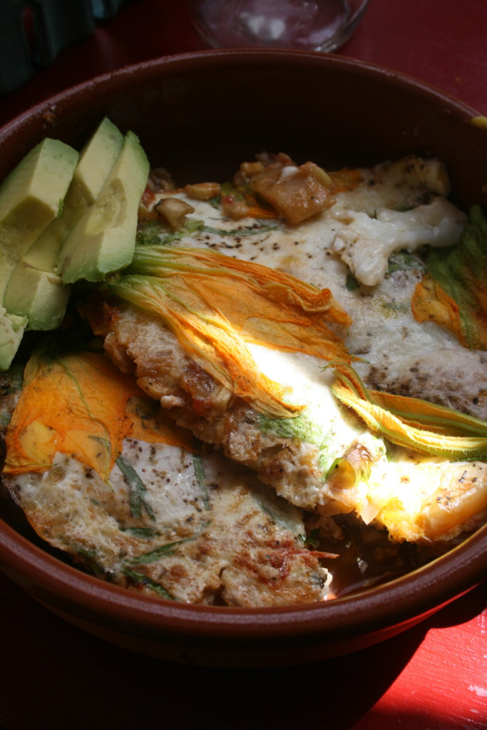 Squash Blossoms with Baked Eggs 1