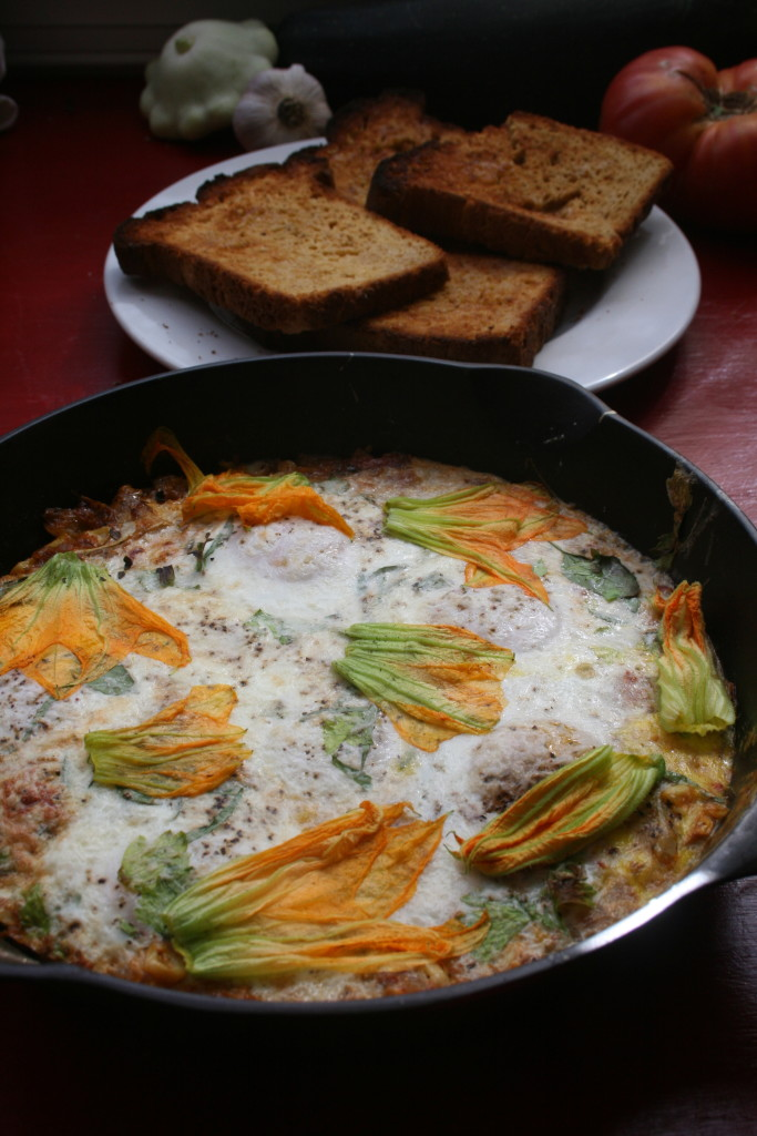 Squash Blossoms with Baked Eggs 3