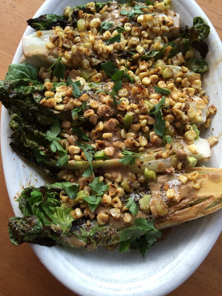 Grilled Romaine Spears with Roast Corn and Anchovy Dressing 1