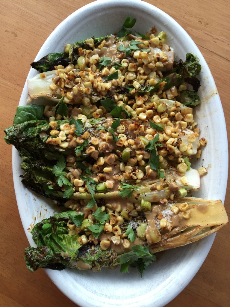 Grilled Romaine Spears with Roast Corn and Anchovy Dressing