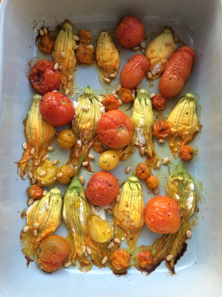 Goat Cheese Stuffed Squash Blossom and Roasted Tomatoes 1