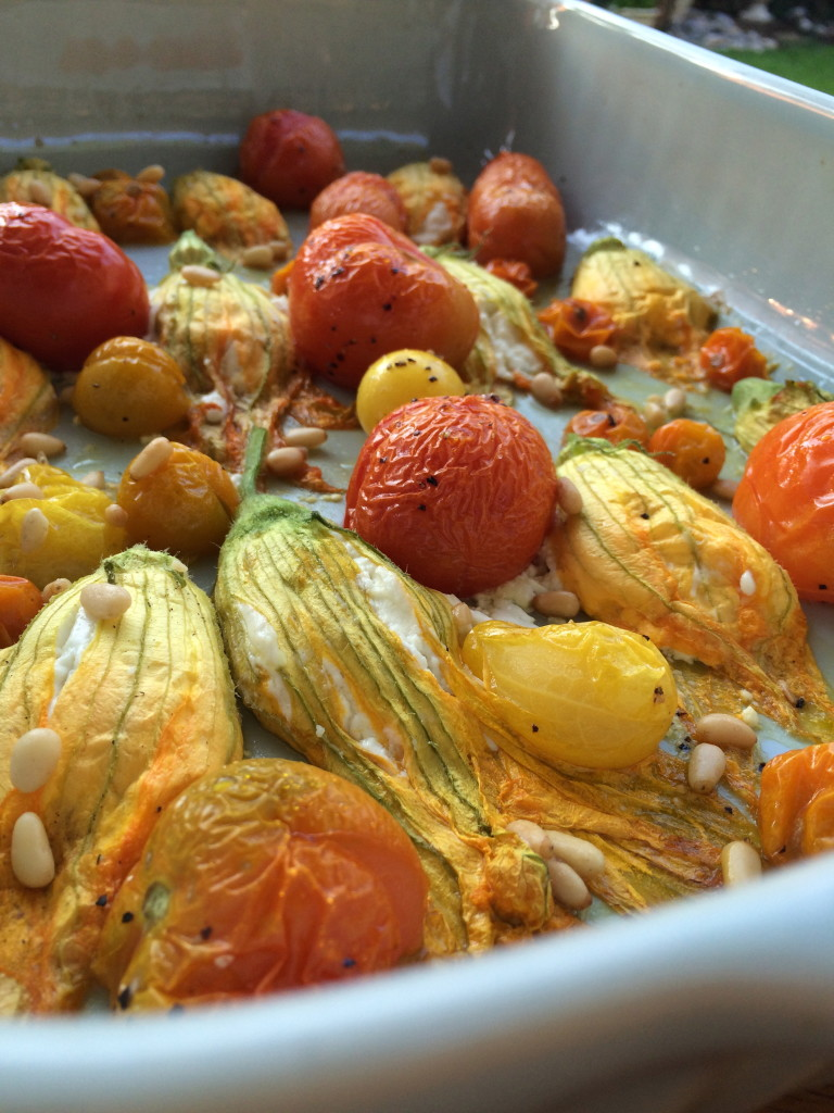 Goat Cheese Stuffed Squash Blossom and Roasted Tomatoes 6