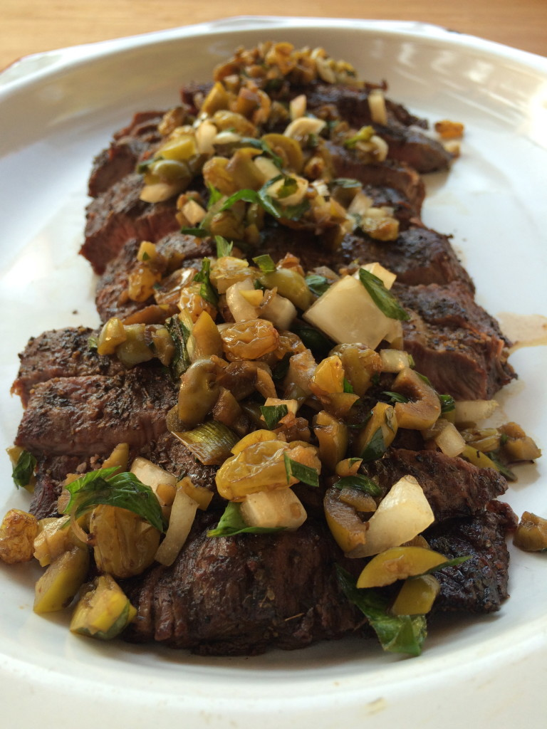 Grilled Iron Steak with Balsamic Soaked Raisin and Green Olive Salsa 1
