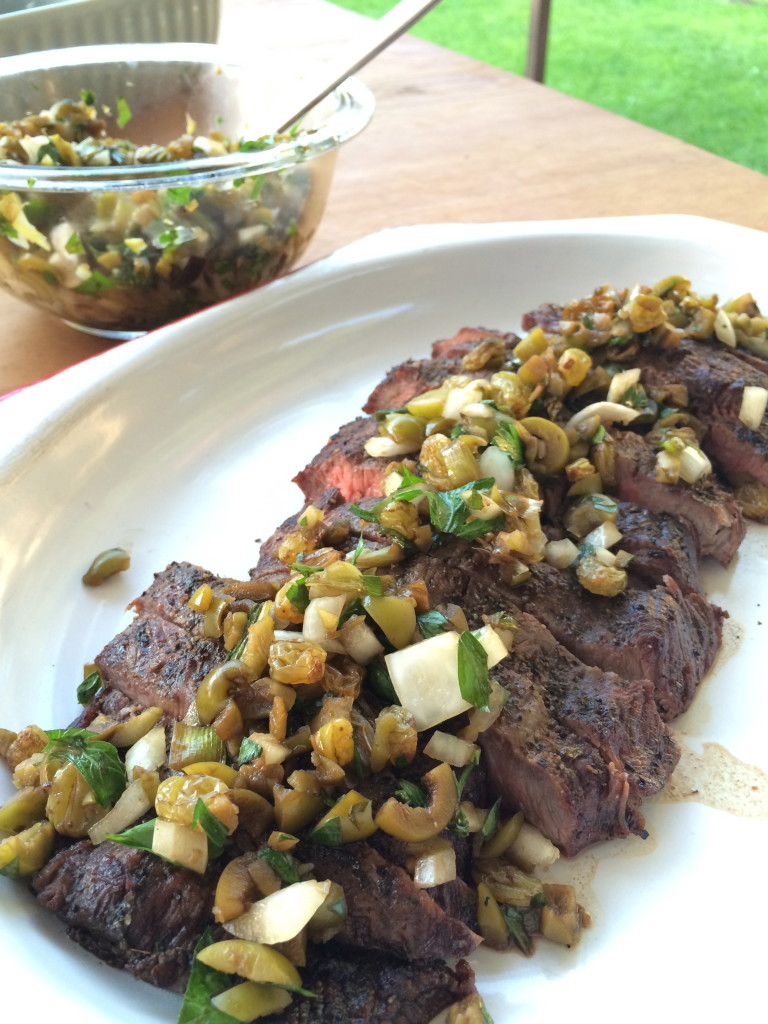 Grilled Iron Steak with Balsamic Soaked Raisin and Green Olive Salsa