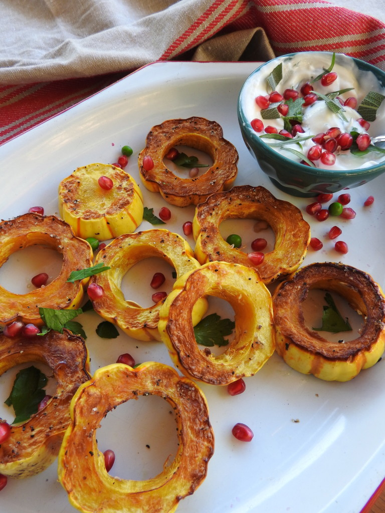 Roasted Delicata Squash Rings with Herbed Yogurt 4
