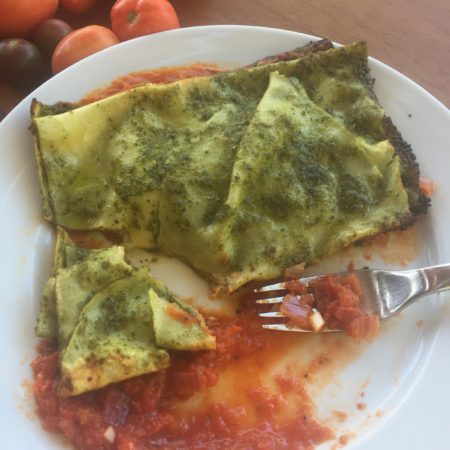 Ricotta Filled Hankerchief Pasta with Pesto and Marinara