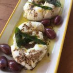 Burrata with fried sage and anchovy oil